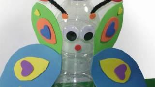 getlinkyoutube.com-Manualidades con Reciclados: Mariposa con botella reciclada - manualidadesconninos