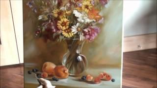 "getlinkyoutube.com-Painting still life in oils "" Wildflowers"""