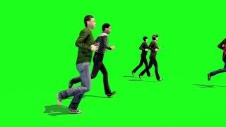 getlinkyoutube.com-Green Screen Crowd People Run Running - Footage PixelBoom