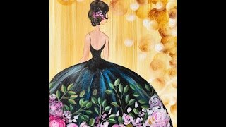 getlinkyoutube.com-Girl in a Party Dress  Acrylic Painting on Canvas for Beginners