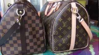 getlinkyoutube.com-Louis Vuitton Speedy Bandouliere Damier Ebene vs Monogram