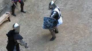 getlinkyoutube.com-Medieval Knights Sword Fighting in Conwy Castle, Wales, UK