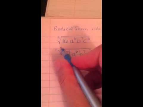 Radical form to rational exponent form