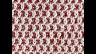 getlinkyoutube.com-Узор спицами двухцветные Соты