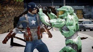getlinkyoutube.com-Halo Master Chief vs Captain America - Bloody Fight - Grand Theft Auto