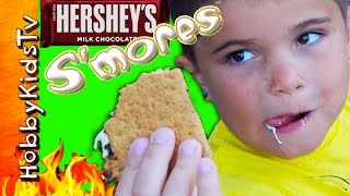getlinkyoutube.com-Hersheys S'MORES Kit! Fire Pit CHALLENGE + Marshmallow Mess HobbyKidsTV