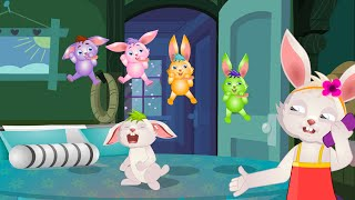 getlinkyoutube.com-Five Little Rabbits Jumping on the bed | Nursery Rhymes