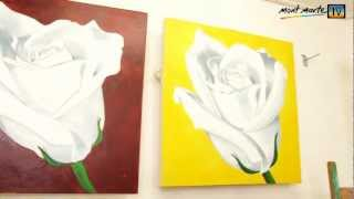getlinkyoutube.com-Art Lesson: How to Paint a White Rose Using Acrylic Paint