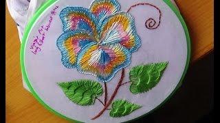 getlinkyoutube.com-Hand Embroidery Designs # 141 - Long & short blanket design