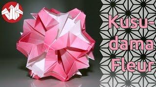 getlinkyoutube.com-Origami - Kusudama fleur - Flower Kusudama [Senbazuru]