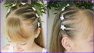 getlinkyoutube.com-First Communion Hairstyle 1/3 / Upside Down Pigtails Headband / Bonita Hair Do