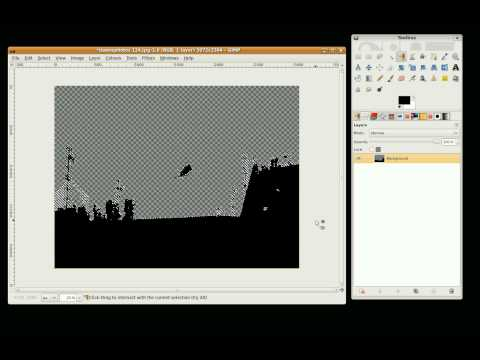 Gimp tutorial: photo edit 3 Convert an image to a silhouette with a new back ground.