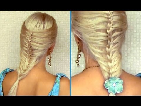 Romantic summer hairstyle for medium long hair Cage / mermaid french braid tutorial