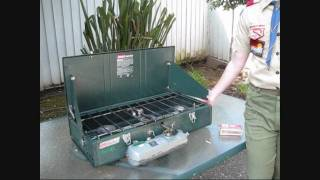 getlinkyoutube.com-Troop 566's Coleman Three Burner Liquid Fuel Stove Tutorial, Part 3b