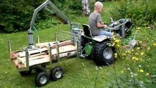 getlinkyoutube.com-Homebuild tractor with compressed air woodcart