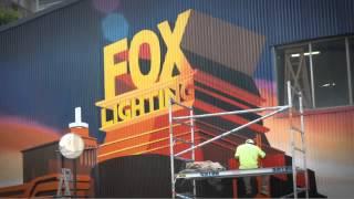 getlinkyoutube.com-Yell Creative - Fox Lighting mural time lapse, Fox Studios Sydney