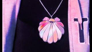 getlinkyoutube.com-DIY MERMAID HOLOGRAPHIC NECKLACE (shell necklace)