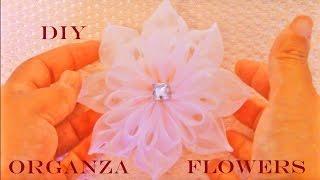 getlinkyoutube.com-DIY flores Kanzashi hermosas en cintas de organza -Kanzashi flowers in organza ribbons