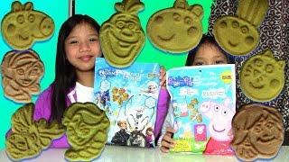 getlinkyoutube.com-Disney Frozen Peppa Pig Character Cookies and Surprise Egg Game