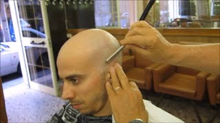 Complete head shave in a silent barbershop : ASMR tingles