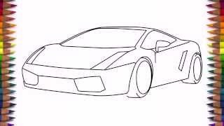 getlinkyoutube.com-How to draw a car Lamborghini Gallardo easy step by step for kids and beginners