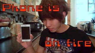 getlinkyoutube.com-スマホを電子レンジでチンしたら燃えた My phone is on fire microwave