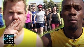 getlinkyoutube.com-100m Race: Usain Bolt vs James Corden & Owen Wilson