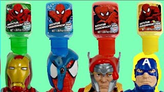 getlinkyoutube.com-Spider Man Bath Paint, Learn Colors with SUPERHERO Iron Man, Thor, Capt. America Toy Suprises / TUYC