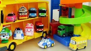 getlinkyoutube.com-Robocar Poli car and Parking Tower Tayo bus toys