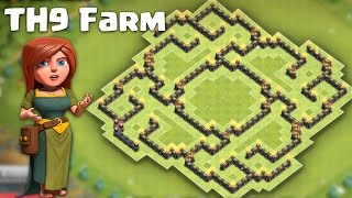 getlinkyoutube.com-Town hall 9 (TH9) Farming Base 2016 (The slit 2) -  Protect both Resources/TH + Defense replays