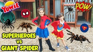 getlinkyoutube.com-GIANT SPIDER ATTACK SUPERHERO SPIDERGIRL AND SUPERGIRL Save the Yowie Surprise, Giant Pinata Bashing