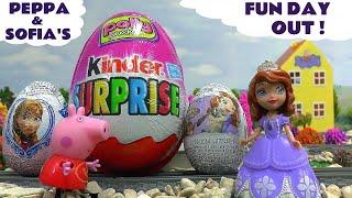 getlinkyoutube.com-Peppa Pig Sofia The First Giant Color Changing Kinder Surprise Egg Thomas & Friends Frozen Disney