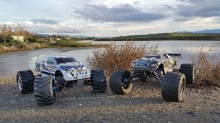 getlinkyoutube.com-Off roading with Traxxas Brushless E-Revo & Brushed E-Maxx RC 4WD