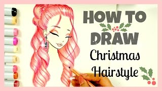 getlinkyoutube.com-How to Draw and Color Christmas Hairstyle | Xmas Series
