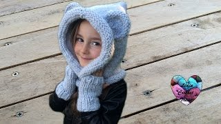 getlinkyoutube.com-Tuto tricot : Capuche oreilles d'ours / Knitted bear hooded cowl easy