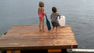 Floating Dock from Garbage oil Containers!