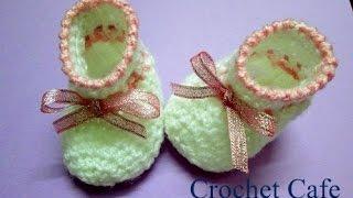 getlinkyoutube.com-Crochet baby bootie كروشيه  لكلوك  سهل للبيبي | قناة كروشيه كافيه