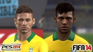 getlinkyoutube.com-PES 2014 vs FIFA 14 Face Comparison BRASIL (National Team)