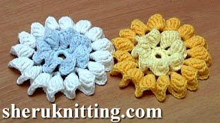 getlinkyoutube.com-Crochet Flower How to Folded Petals In Center and Around Tutorial 35 الكروشيه زهرة