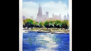 getlinkyoutube.com-Watercolor demo of Chicago skyline - Tony Armendariz