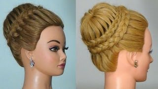 "getlinkyoutube.com-Прическа с плетением ""Корона""/ ""Паутинка"" . Crown Braid. Updo Hairstyles"