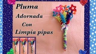 getlinkyoutube.com-PLUMA O LAPICERO ADORNADO CON LIMPIA PIPAS ( ESTRELLAS) .