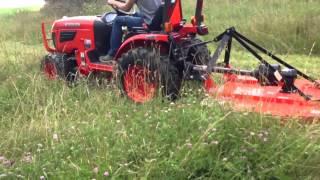 getlinkyoutube.com-23 hp kubota with 4 ft land pride brush hog