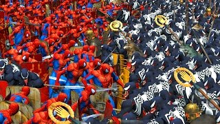 1000 SPIDERMAN VS 1000 VENOM | MASSIVE SUPERHEROES BATTLE