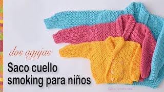 getlinkyoutube.com-Saco con cuello smoking para niños tejido en dos agujas: 3 tallas!