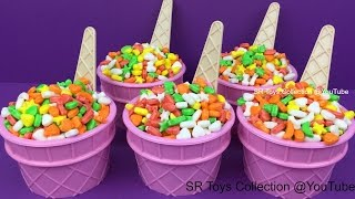 getlinkyoutube.com-Candy Ice Cream Surprise Cups Party Animals Toys Maya the Bee Pikachu Rapunzel Princess Merida