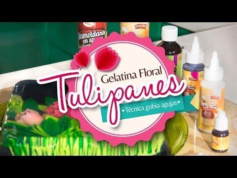 Gelatina Floral Tulipanes (Técnica Gubiagujas # 1 - 17 - 26) PASO A PASO
