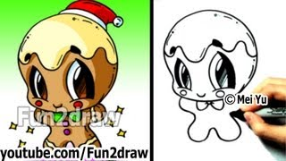 How to Draw Christmas Pictures - How to Draw a Gingerbread Man - Cute & Easy! - Cute Art - Fun2draw