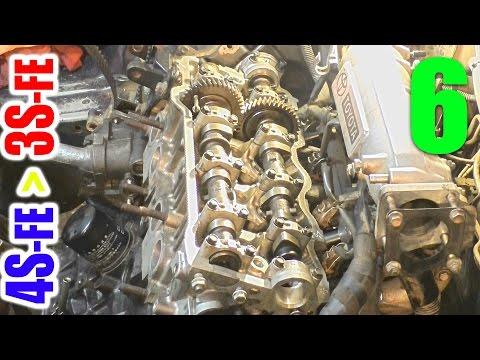УСТАНОВКА ГОЛОВКИ БЛОКА ЦИЛИНДРОВ 3S-FE + РАСПРЕДВАЛЫ  Замена двигателя - часть 6  (Toyota Vista)