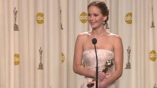 Raw: Jennifer Lawrence backstage after 2013 Oscar win